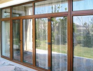 Double Tempered Glass Thermal Break Wood and Aluminium Casement Door pictures & photos