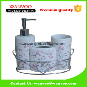 Hand Crafted China Promotional Ceramic Bathroom Set with Iron Basket pictures & photos