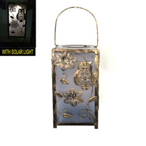 Metal Garden Hanging Solar Lighted Lantern W. Stained Glass Craft pictures & photos