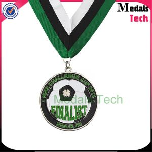 Free Sample Low Price Soft Enamel Silver Round Africa Custom Football Medal pictures & photos