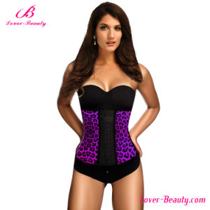 Figure Shaping Purple Leopard Latex 4 Steel Boned Waist Trainer pictures & photos