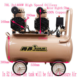 2X1400W 70L Air Brush DC Compressor Compressor Oilless Dental pictures & photos