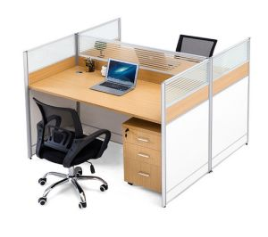 2 Seats Straight Desk Workstation Cluster Staff Office Partition (HX-NCD323) pictures & photos