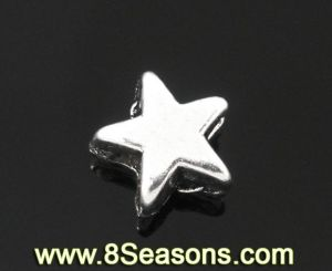 Silver Tone Star Charm Spacer Beads 6x6mm (B06054)