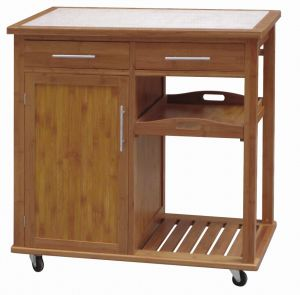 Bamboo Kitchen Trolley W/Tile Top (HX1-3235)