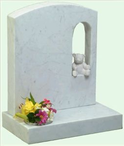 White Granite Headstone with Carving Bear (DH-T051)