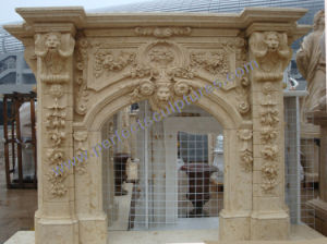 Carved Stone Marble Fireplace Mantel for Home Decoration (QY-LS384) pictures & photos