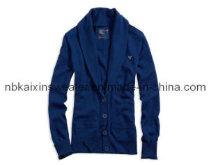Lady′s Dark Blue Chic Cardigan (KX-W34)