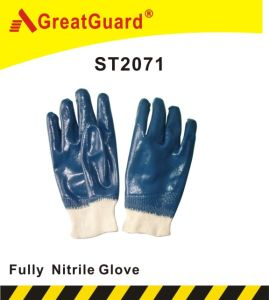 Cotton Jersey Nitrile Coated Glove (ST2071) pictures & photos