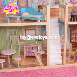 New Design Luxurious and Attractive 34 Furniture Pieces Girls Wooden Doll House Toys W06A217 pictures & photos