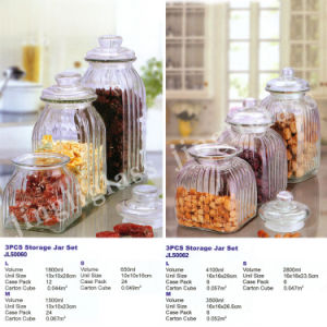 Wholesale New Design Glass Storage Jar Canister/Glass Storage Container with Lids pictures & photos
