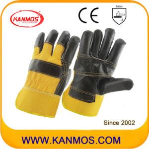 Black Furniture Cowhide Split Leather Industrial Safety Work Gloves (310023)