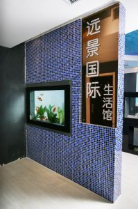 acrylic aquarium into partition wall fish tank for partition wall