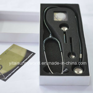 Three Head Cardiology Stainless Steel Stethoscope (SW-ST19) pictures & photos