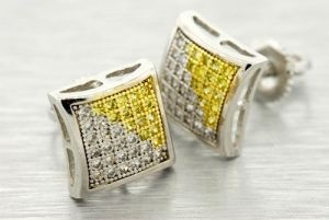 14k Gold Plated 9mm Simulated Lab Diamond Earrings Screw Studs Yellow Two Tone Foq901