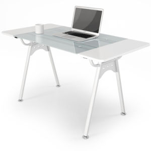 Modern Home Office Furniture Glass Computer Table with Metal Legs pictures & photos