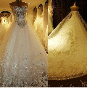 Luxury Wedding Gown/White Ivory Rhinestones Bridal Ball Gown/Crystal Stones Wedding Dress (H13361)