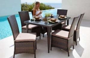 Outdoor Garden Rattan Furniture 7 PCS New Design Dining Set in Mixed Brown Wicker