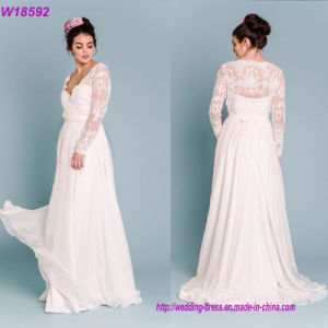2017 Long Sleeves White Lace Appliqued Luxury Bridal Ball Gown Wedding Dress pictures & photos