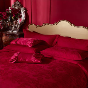 Hot Selling Romantic Jacquard 100 Cotton Luxury Wedding Bedding Set pictures & photos