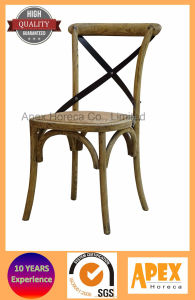Cross Back Wood Chair Solid Wood Dining Stackable Chair pictures & photos