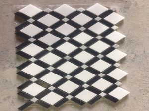 Thassos White and Carrara White Marble Lattice with Black Strips Mosaic Tile pictures & photos