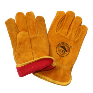 Fleece Lined Leather Drivers Work Gloves / Safety Winter Leather Gloves pictures & photos