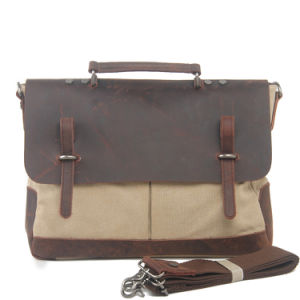 Cowhide Leather Bag Cover Canvas Handbag (RS-8896c pictures & photos