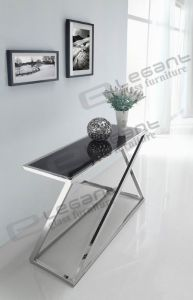 Grey Tempered Glass Console Table with Brushed Stainless Steel Legs pictures & photos