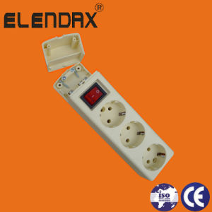Europe 3 Way Power Extension Socket with Earth and Switch (E9003ES) pictures & photos