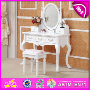 Wholesale Cheapest Wooden Dressing Table with Mirror and Stool W08h017 pictures & photos