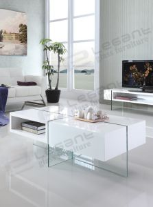 Fashionable Glass Tea Table with White Color MDF pictures & photos