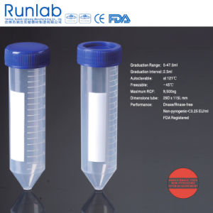 FDA and Ce Approved 50ml Conical-Bottom Centrifuge Tubes with Printed Graduation in Foam Rack Pack pictures & photos