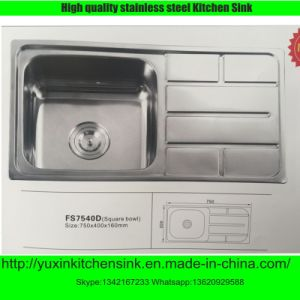 Ss201 Stainless Steel Single Bowl Kitchen Sink with Board (FS7540D)