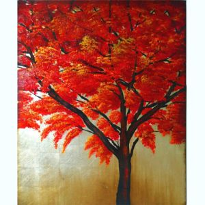 Customizing Beautiful Scenery Canvas Art Newest Handmade Red Tree Painting (LH-011000) pictures & photos