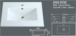 Hot Selling White Color Ceramic Sink/Washbasin with Cupc (A-3722) pictures & photos