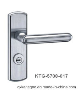 (KTG-5708-017) 304 Stainless Steel Satin Finish Modern Door Handle on Plate pictures & photos
