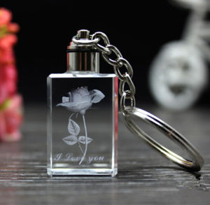 3D Crystal Glass Key Chain for Christmas Gifts pictures & photos