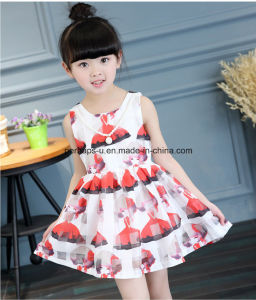 High Quality Sleeveless Printing Flower Girls Dress Children Wear pictures & photos