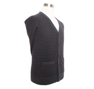Bn1617 Men′s Yak/Merino Wool Knitted Long Sleeve V Neck Cardigan Spring and Autumn Sweater pictures & photos