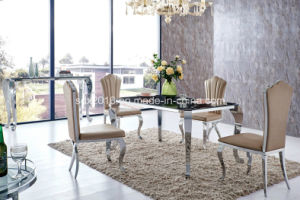 Modern Dining Room Stainless Steel Glass Top Dining Table Set (tes) pictures & photos