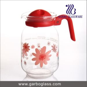 1600ml Flower Decal Glass Water Pot with Cover pictures & photos