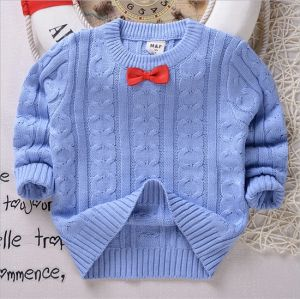 T11910 2015 Boy Sweater Pullover Shirt Autumn Winter Pure Color Long Sleeve Bow Knot Knitted Wear Cotton Children Top Clothes pictures & photos