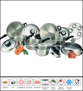 Kitchenware 17PCS T304 Surgical Waterless Stainless Steel Cookware Set pictures & photos