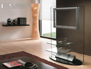 2015 Glass TV Stand with Front Shelf pictures & photos