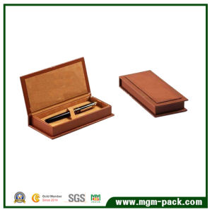Hot Sale Brown PU Leather Wrapping Wooden Pen Box pictures & photos