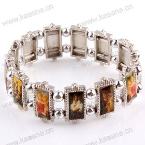 Metal Religious Rosary Bracelet with Changeable Saints Picture