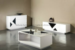 Wooden UV High Gloss White & Black TV Cabinet (SKY 201) pictures & photos