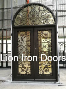 Modern Wrought Entry Iron Door with Tempered Glass pictures & photos