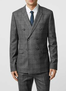 Charcoal Check Double Breasted Men Suit pictures & photos